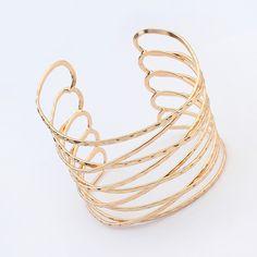 alliage de zinc bracelet manchette, Plaqué d'or, 7x7cm, Longueur:Environ 7-9 pouce, Vendu par PC,perles bijoux en gros de Chine