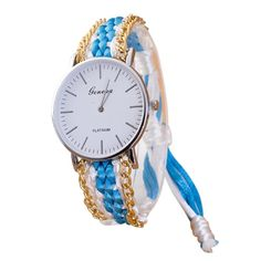 TONSEE Women National Wind DIY Hand-Woven Strap Watch - Blue >>> Unbelievable  item right here! (This is an amazon affiliate link. I may earn commission from it)