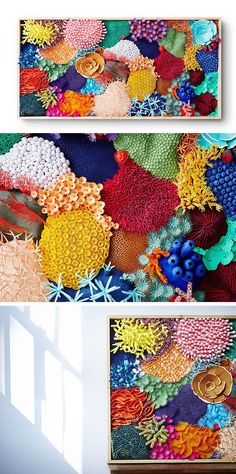Mlle Hipolyte's paper art sculpture is a magnificent, three-dimensional representation of a vibrant coral reef.