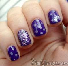 polka dot and glitter nails!