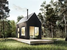 Catskills Tiny House Plan Your very own modern tiny house weekend getaway. The Walden 144 features soaring ceilings, lofted living space, a wood stove, alcove kitchen, and shower room. Tiny House Loft, Modern Tiny House, Modern Loft, Tiny House Design, Prefab Cabins, Prefab Tiny Houses, Cheap Prefab Homes, Prefab Home Kits, Cabin Kits