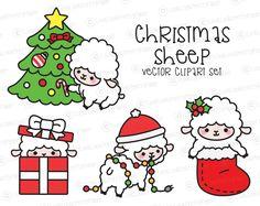 Premium Vector Clipart - Kawaii Christmas Sheep - Cute Christmas Sheep Clipart Set - High Quality Vectors - Kawaii Christmas Clipart by LookLookPrettyPaper on Etsy https://www.etsy.com/listing/491179801/premium-vector-clipart-kawaii-christmas