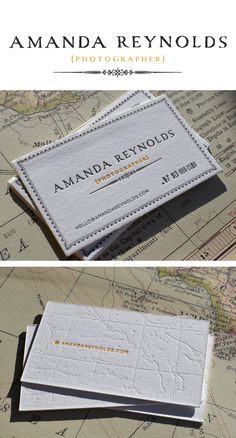 lovely business cards by designer Sarah Rushin (http://sarahrusin.com/).  enamored by the pressed map detailing.