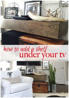 How to add a shelf under your tv at refreshrestyle.com