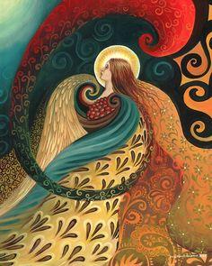 Piuma dea - Print Art Nouveau mitologia 8 x 10