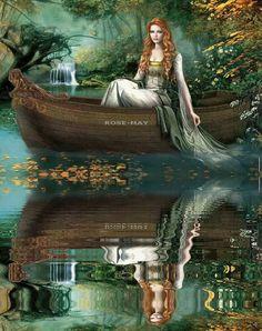 Beautiful Fantasy Woman in Boat-Reflection photo boat_reflection-j95.gif