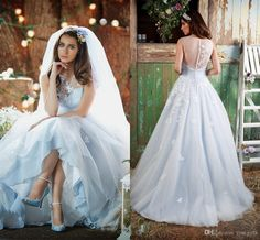 Ice Blue Lace Ball Gown Wedding Dresses 2015 Sheer Neck Sweetheart Covered Button Back Long Bridal Gowns Exquisite Appliques Wedding Gowns Lace Wedding Dresses 2015 Wedding Dresses Ball Gowns Online with $239.76/Piece on Rosegirls's Store | DHgate.com