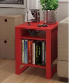 Side End Table Living Room Home Wood Home Furniture Decor Coffee 2 Shelves Books Storage Organizer Light. Comes in Ruby Red Assembly required
