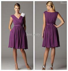Wholesale Bridesmaid Dress - Buy Purple Cheap Bridesmaid Dresses Chiffon V Neck Short Sleeves Knee Length White Hand Made Flower Ruching Maid of Honor Dresses, $85.23 | DHgate