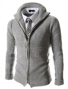 Slim fit zip front sweater