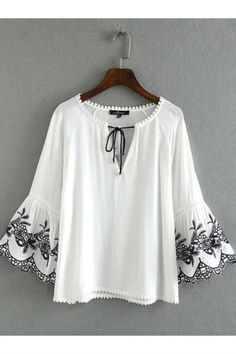 Boho White Embroidery Bell Sleeve Blouse