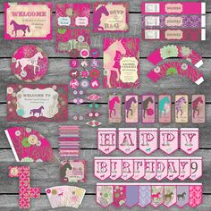 Large Pink and Purple Equestrian Horse Birthday by SweetPapermint, $40.00
