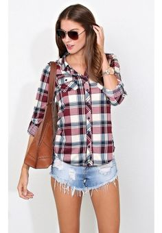 Queens Plaid Knit Top