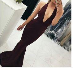 Sexy Hot Prom Dress Evening Dress, Mermaid Burgundy Prom Dress, Deep V-neck Backless Long Evening Dress Prom Gown by Miss Zhu Bridal, $119.89 USD
