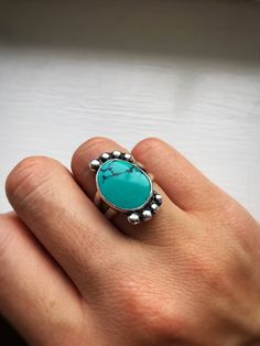 A personal favorite from my Etsy shop https://www.etsy.com/listing/519629976/kingman-turquoise-ring-turquoise-ring