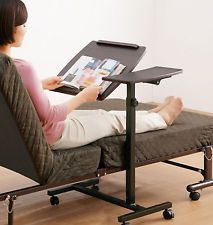 Laptop Table Rolling Sofa Bedside Food Tray Computer Desk Adjustable Surface NEW