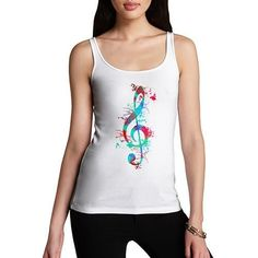 Treble Clef Paint Splats Women's Tank Top