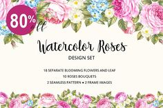 Watercolor rose set by Botanical decor on @creativemarket
