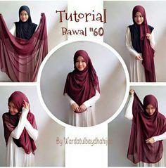 Wardatulbaydhahijab Tutorial Hijab Pesta, Simple Hijab Tutorial, Hijab Style Tutorial, Hijab Dress, Hijab Outfit, Muslim Women Fashion, Womens Fashion, New Hijab Style, How To Wear Hijab