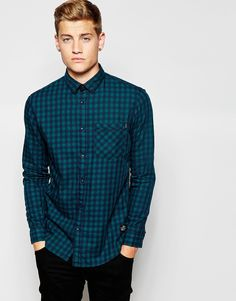 Check shirt by Jack & Jones Soft-touch woven cotton Button placket Chest  pocket Hanging hook to reverse Regular fit - true to size Machine wash  Cotton Our ...