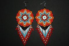 Native American Beaded Earrings Cool by BiuluArtisanBoutique