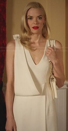 Lemon's white draped v-neck dress on Hart of Dixie.  Outfit Details: http://wornontv.net/30585/ #HartofDixie