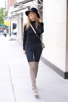 Exactly how to wear over-the-knee boots -- click for outfit ideas starring the thigh-high style