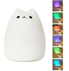 Mystery Portable Silicone LED Multicolor Night Lamp, USB Rechargeable Children Night Light with Warm White & 7-Color Breathing Dual Light Modes, Sensitive Tap Control for Baby Adults Bedroom