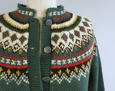 Vintage Nordic Wool Fair Isle Cardigan / 1960s Hand by zestvintage