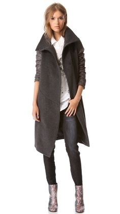 Leather Sleeve Trench Coat