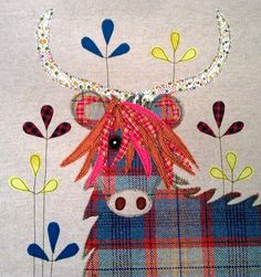 Highland cow cushion By lucy levenson designs