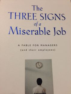 Great book about what to look for in the work place
