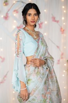 Pr blue organza saree with georgette ruffle sleeves. Saree Blouse Patterns, Girl Dress Patterns, Skirt Patterns Sewing, Coat Patterns, Clothes Patterns, Blouse Neck Designs, Sleeve Designs, Organza Saree, Saree Look