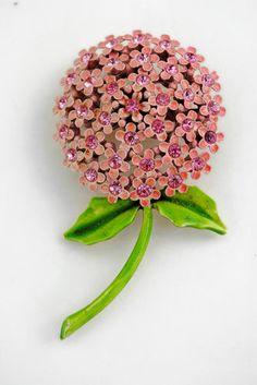 WEISS Pink Enamel RHINESTONE Figural FLOWER Pin