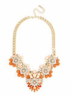Tangerine Picks: Baublebar orange and peach floral gem bib necklace, $48, baublebar.com