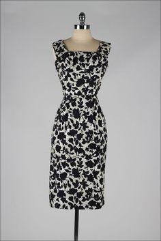 vintage 1950s dress . black gray floral by millstreetvintage