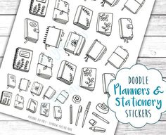 Handdrawn little doodle planners inspired by bullet journals, the Midori and Filofax... and stationery supplies, perfect to use as printable stickers! These work both as DIY coloring stickers and as simple black and white stickers for planners of all kinds. Color them to fit with your other stickers or your planners design. :)  The largest planner still fits into the Erin Condren Life Planner boxes, measuring less than 1.5 by 1.9 inches. A smaller version of the ten journal doodle drawings…