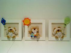 Trio de quadrinhos em MDF medindo 14 X 14 cm Forrado com tecido 100% algodão Decorado com ursinhos confeccionados em feltro e enchimento em manta  * tema e cores: a escolher R$ 58,00