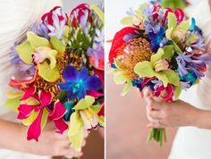Tropical Wedding Bouquet; bright orchids