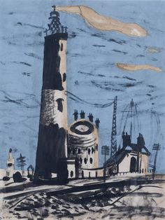 'Dungeness' by John Piper, 1936 (gouache, ink and collage) Landscape Art, Landscape Paintings, Landscapes, Landscape Drawings, John Piper Artist, John Minton, Collages, Collage Art, Art Uk