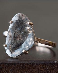 Alexis Russell <<>> Custom Natural Grey-Black Diamond Slice Ring