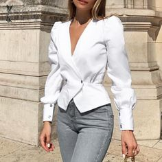 For Sale - 2020 Clothes Women's Pure Color Long Sleeves Sexy V Collar Show Thin Shirt Autumn Office Ladies Elegent Women Tops And Blouses Classy Outfits, Chic Outfits, Trendy Outfits, Fashion Outfits, Fashion Blouses, Workwear Fashion, Stylish Shirts, Sexy Shirts, White Shirts