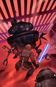Star Wars - Luke Skywalker and by Joe Wight Star Wars Books, Star Wars Art, Star Trek, Kit Fisto, Cuadros Star Wars, Jedi Sith, Star Wars Comics, Marvel Comics, Star War 3