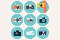 Flat Camera Icons Bundle by karnoff on Creative Market