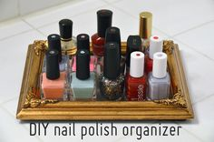 An empty frame to use to organize nail polish. This idea is awesome. Gotta love @Mr. Kate!
