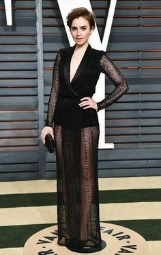 Lily Collins in Zuhair Murad at the Vanity Fair Oscar party