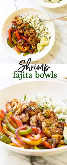 Shrimp Fajita Bowls Juicy shrimp with cilantro-lime rice and colorful peppers. These shrimp fajita bowls are just like fajitas without the tortilla. - Skip the tortillas and serve shrimp fajitas over a bed of cilantro lime rice via Fish Recipes, Seafood Recipes, Mexican Food Recipes, Vegetarian Recipes, Cooking Recipes, Healthy Recipes, Delicious Recipes, Shrimp And Rice Recipes, Shrimp Meals