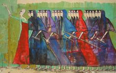 This is the work of Mohamed Alaa, where he incorporated Pharaonic figures into a protest mural