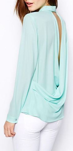 Mint Backless Loose Chiffon Blouse