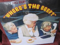 """""""Where is the beef?"""" was a buzzword from the fast food chain Wendy & # 3 … - Diy Event Ideas Famous Taglines, French Supermarkets, Good Advertisements, Ads, Crunch Wrap, Most Popular Social Media, Big Bun, Fast Food Chains, Food Concept"""